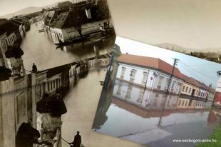 Az árvíz anno (1876) és a mai (08.06) eső nyomai ugyanazon a helyszínen ( Esztergom Pór Antal tér )