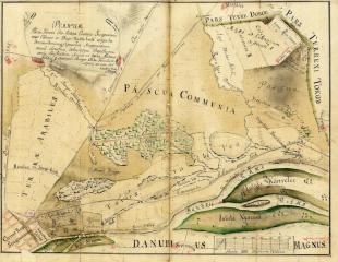Esztergom és a külterületén lévő Nichtsbrod nevű határrészén tervezett új település közötti terület lecsapolási térképe - 1791