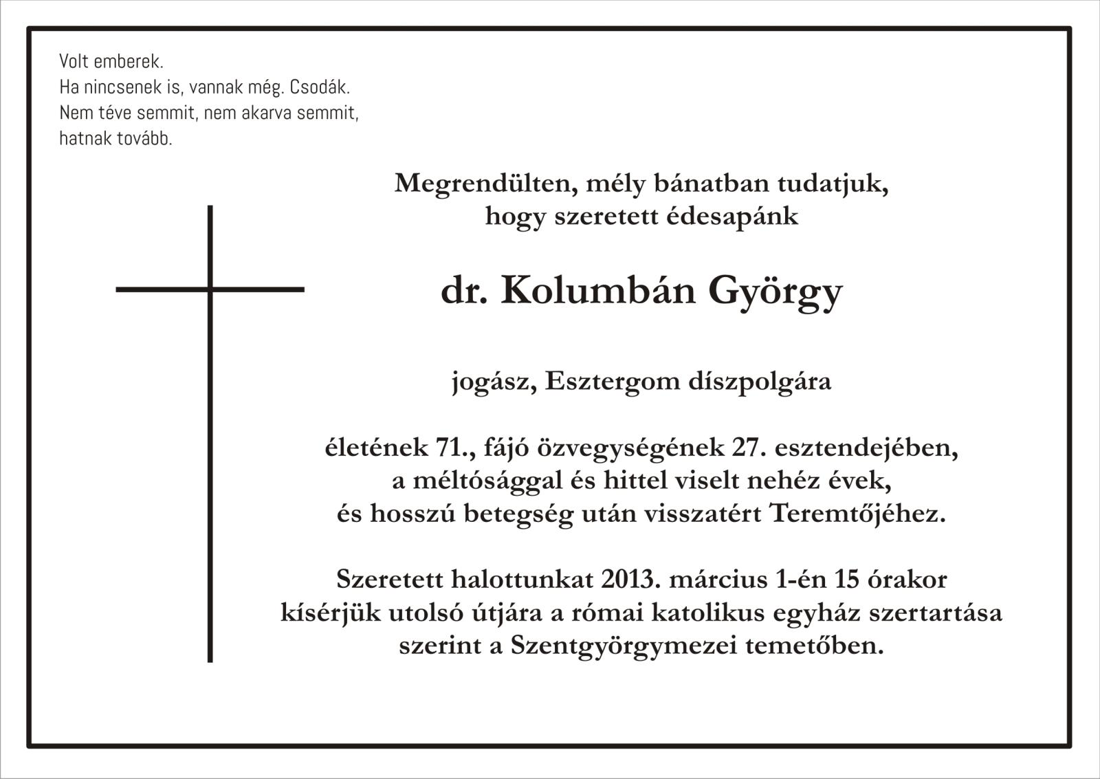 Elhunyt dr. Kolumbán György, Esztergom díszpolgára