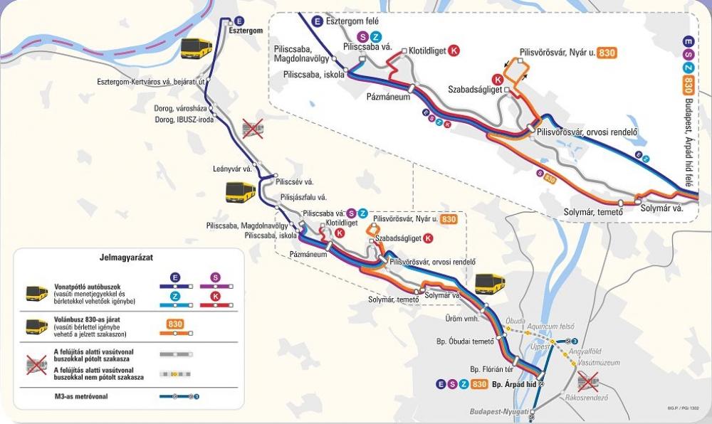 budapest esztergom vasútvonal térkép Április 2 től a teljes Bp Esztergom szakaszon vonatpótlók járnak
