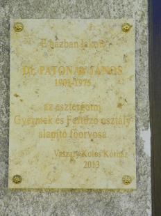 A közelmúltban felavatott Patonay János-emléktábla