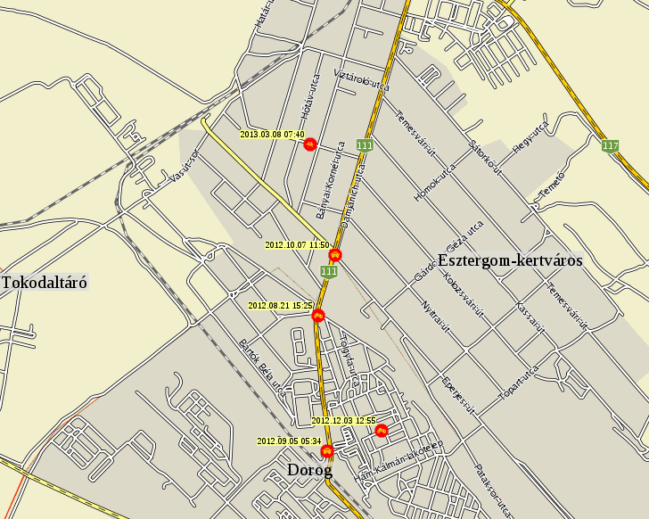 esztergom kertváros térkép Esztergom baleseti térképe esztergom kertváros térkép