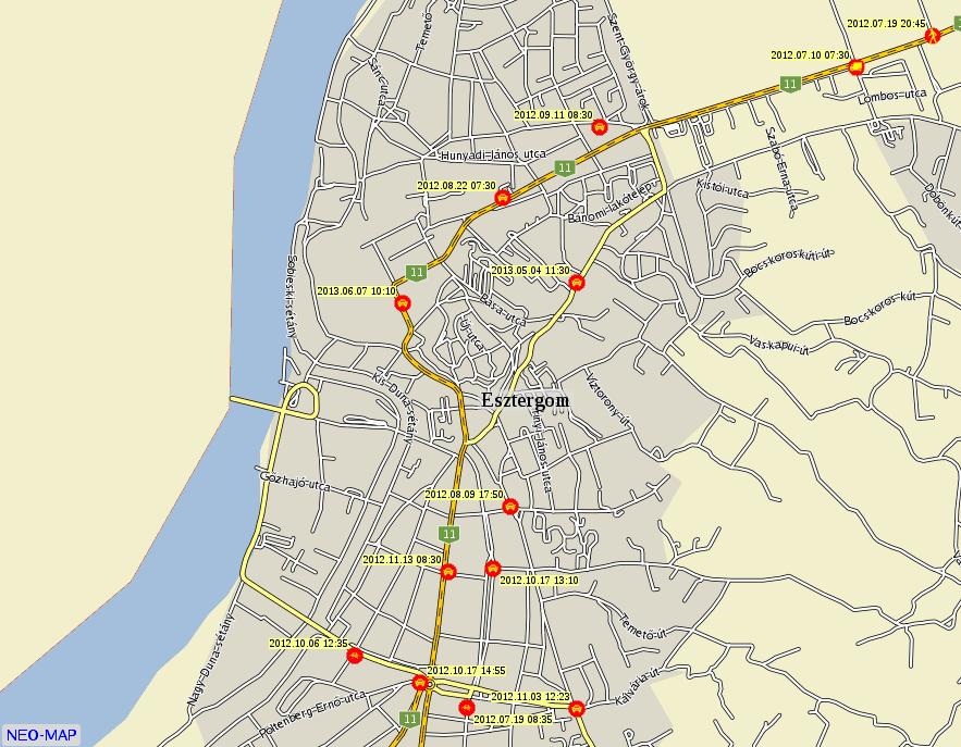 esztergom térkép Esztergom baleseti térképe esztergom térkép