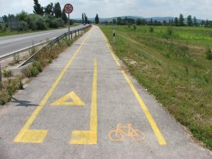 A kerékpárút vége Tátnál (forrás: Wikipédia / Stipkovits Fülöp)