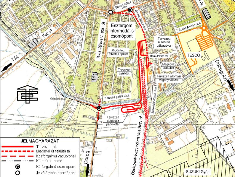 esztergom vasútállomás térkép Tájékoztató az intermodális csomóponttal kapcsolatosan esztergom vasútállomás térkép