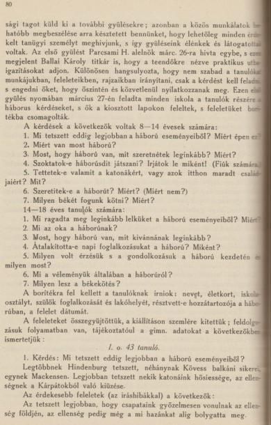 Az I. világháború és a diákok
